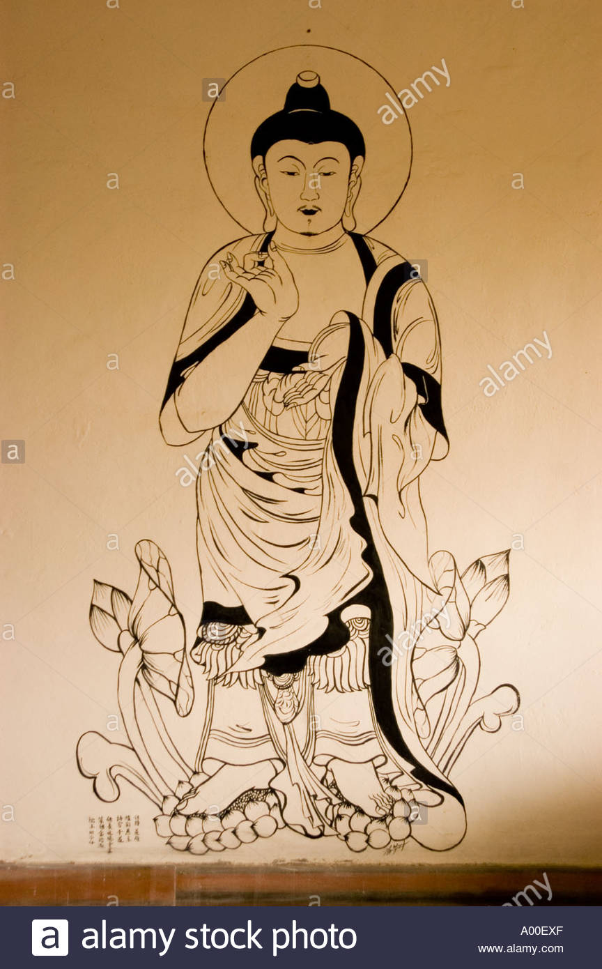 864x1390 Japan Style Standing Buddha Mural Painting In Japanese Zen