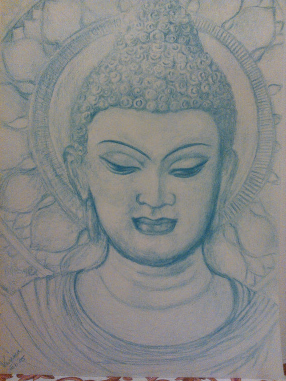 570x760 Japanese Anime Manga Style Color Pencil Drawing Buddha