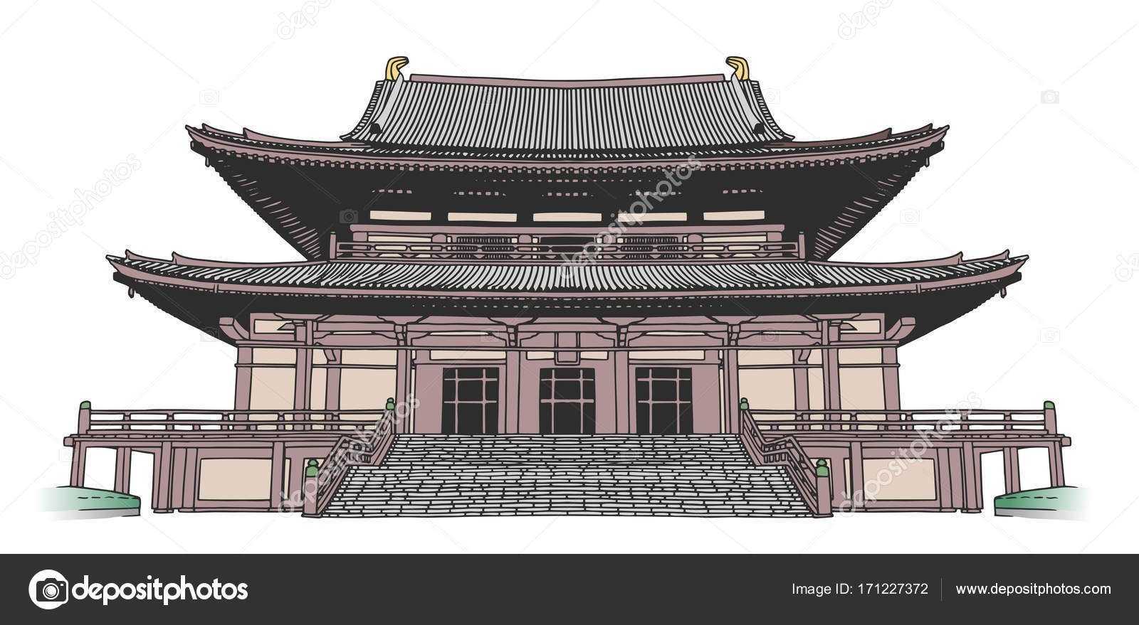 1600x879 Isolated Drawing Of Japanese Style Buddhist Temple In Color