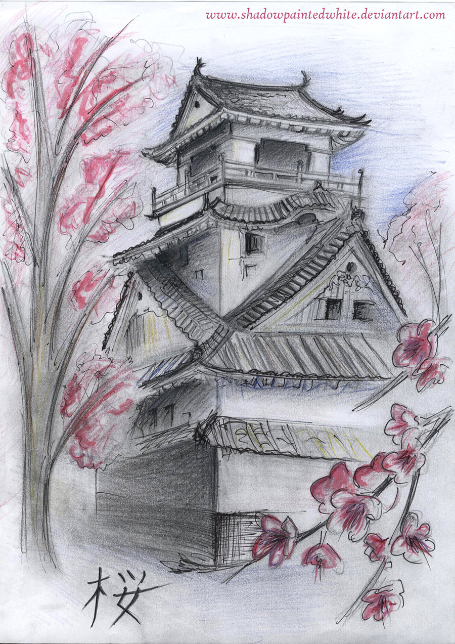 900x1273 Japanese Building Drawing