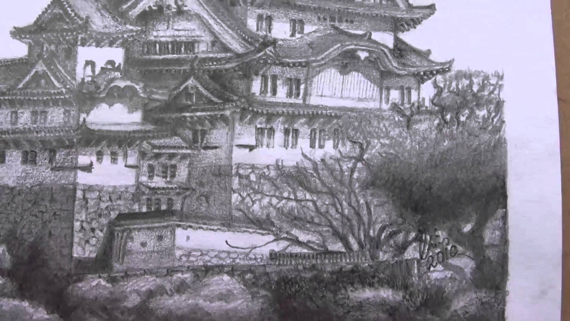 1916x1080 Japanese Castle Drawing In 10 Hours