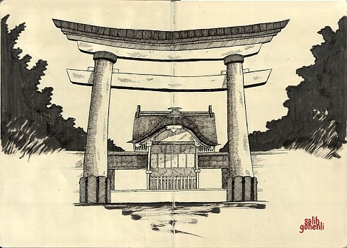 490x351 Japanese Architecture Sketch Sketches drawings
