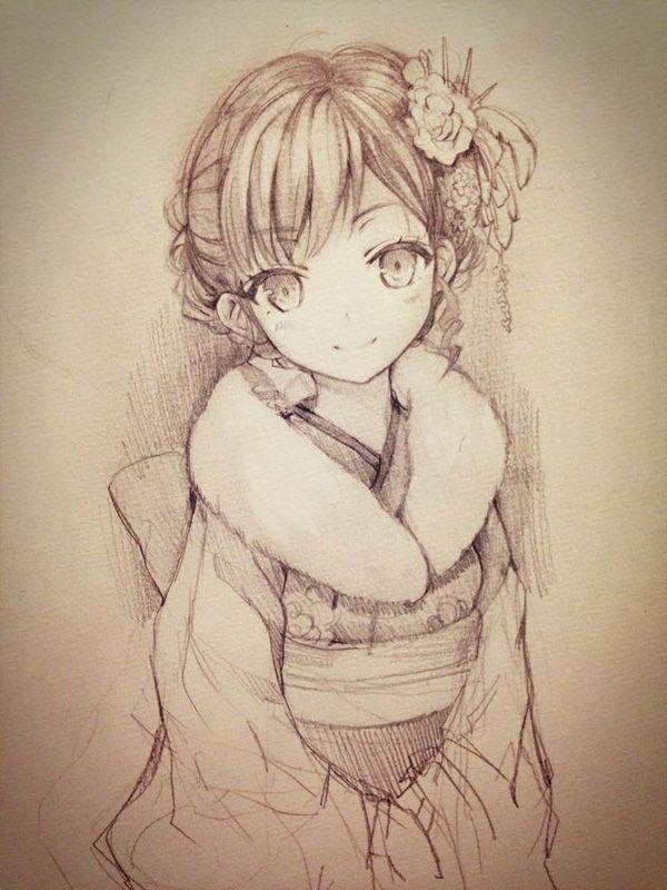 600x800 Elegant Kimono Japanese Anime Style Drawing Of Young Girl
