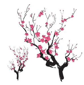 296x300 Cherry Blossom Silhouette Asian Cherry Blossoms Temporary Tattoo