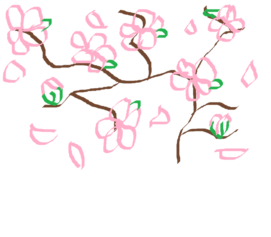 900x786 Japanese Cherry Blossom Drawing By Sqeewee1