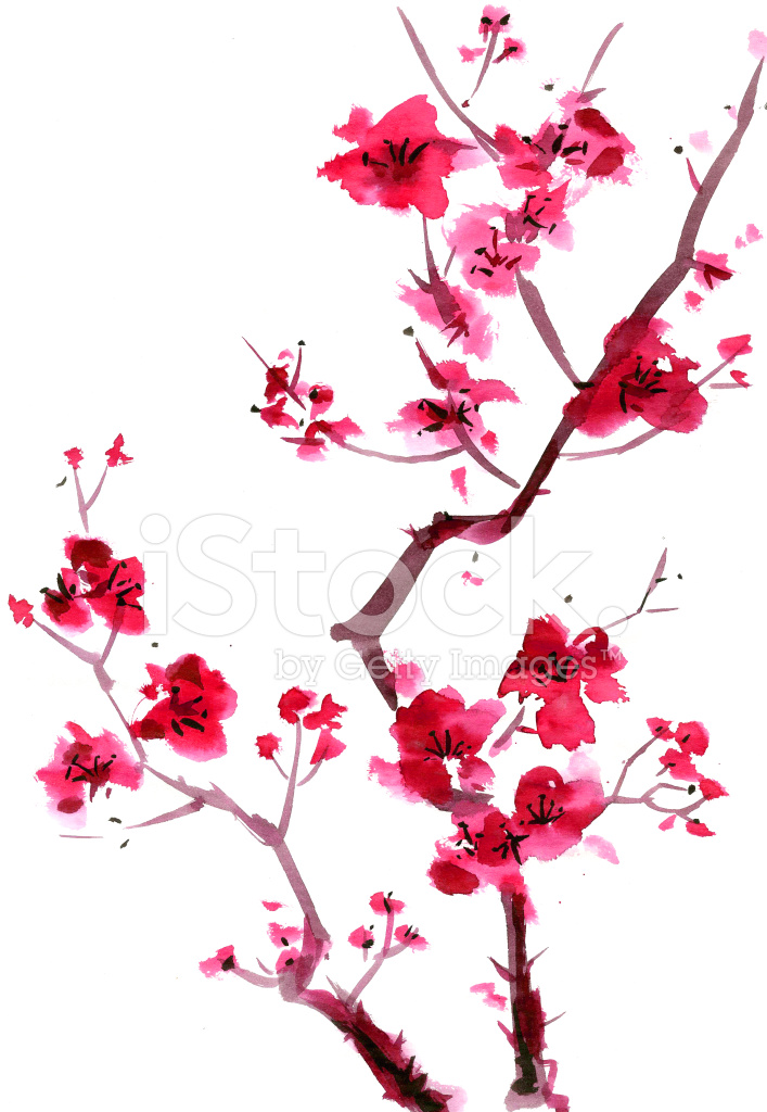 707x1024 Plum Blossom Painting Stock Vector