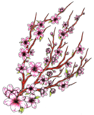 328x400 Free Printable Japanese Floral Art Japanese Cherry Blossom