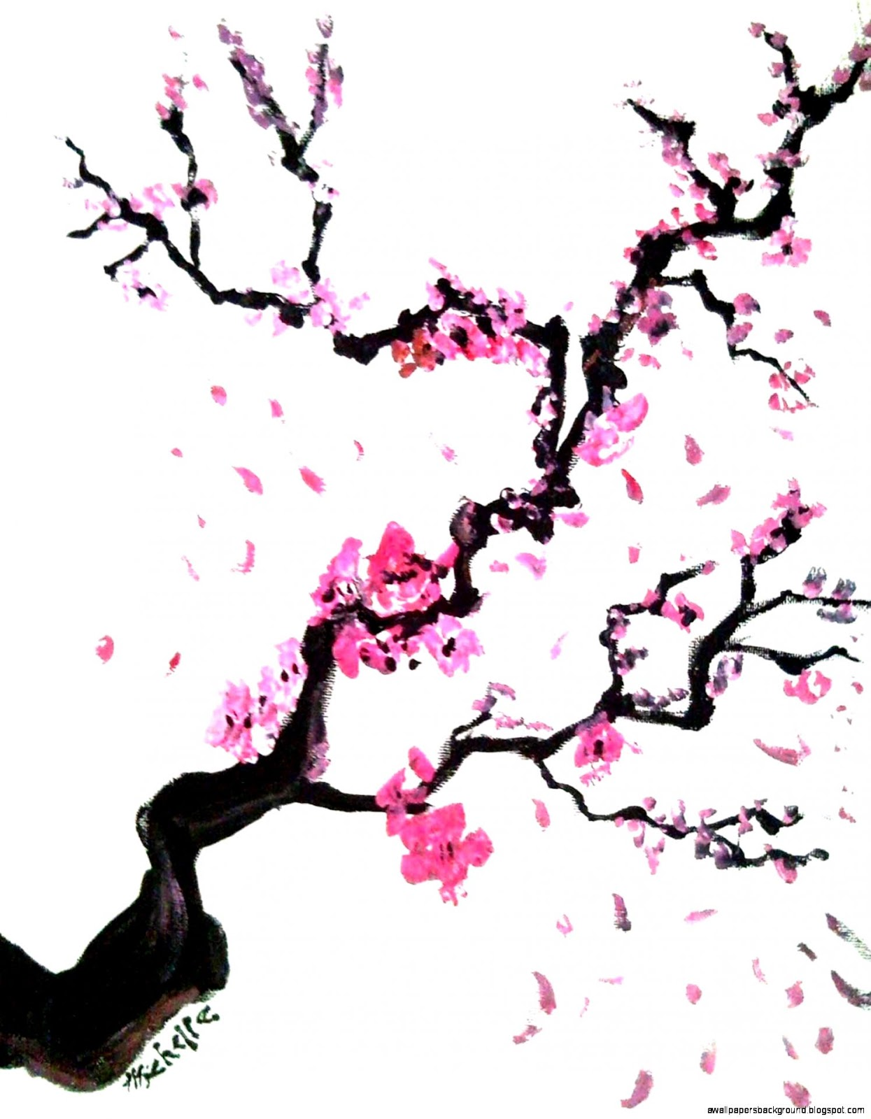 1245x1600 Cherry Blossom Tree Drawing Wallpapers Background