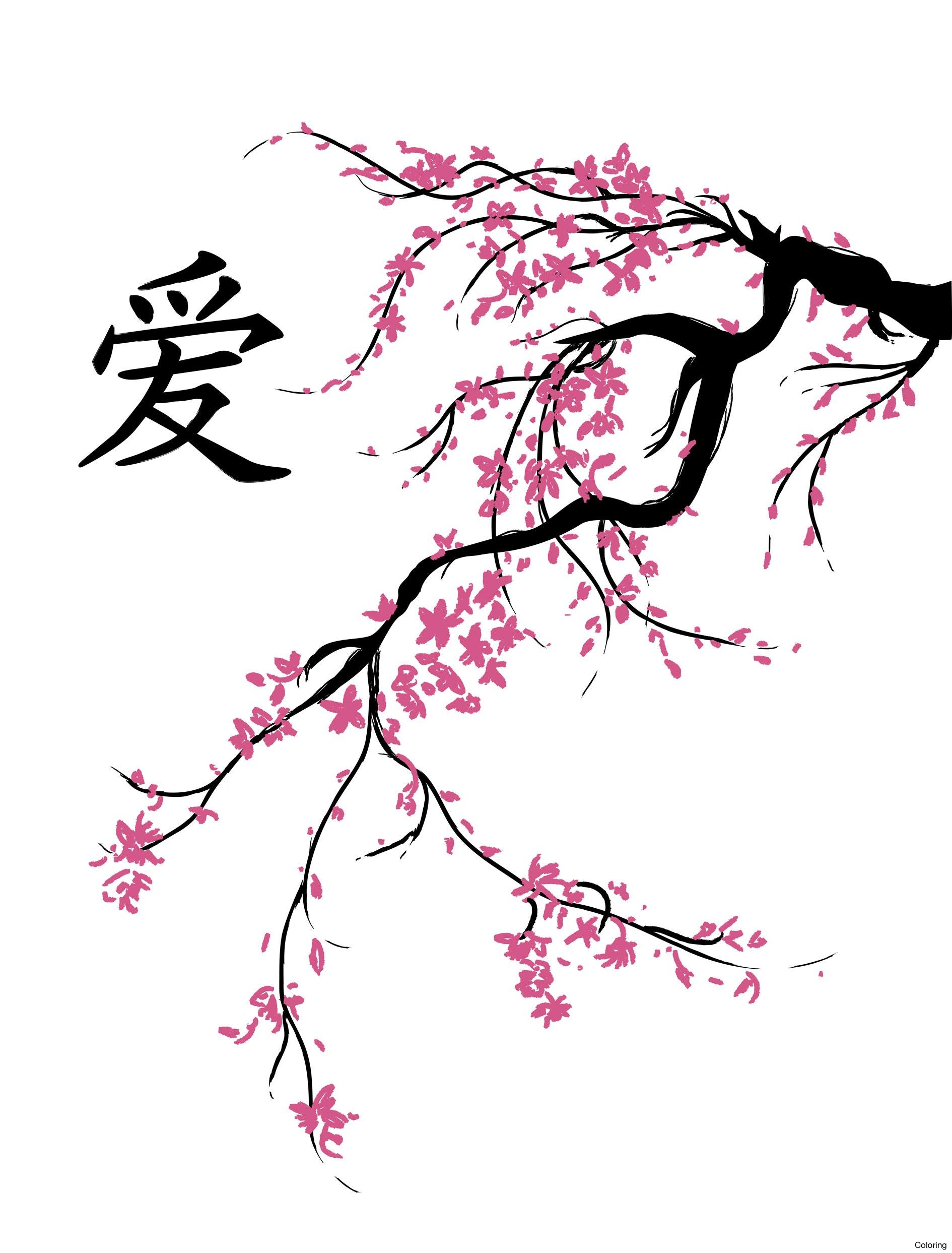 1890x2486 Drawn Sakura Blossom Japenese 7 Cherry Blossoms Drawings Coloring