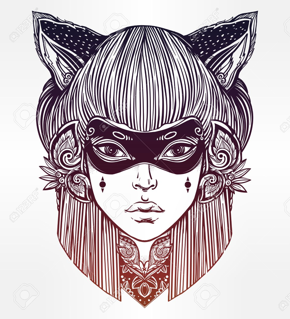 1181x1300 Hand Drawn Beautiful Artwork Of Woman In A Mask With Cat Ears
