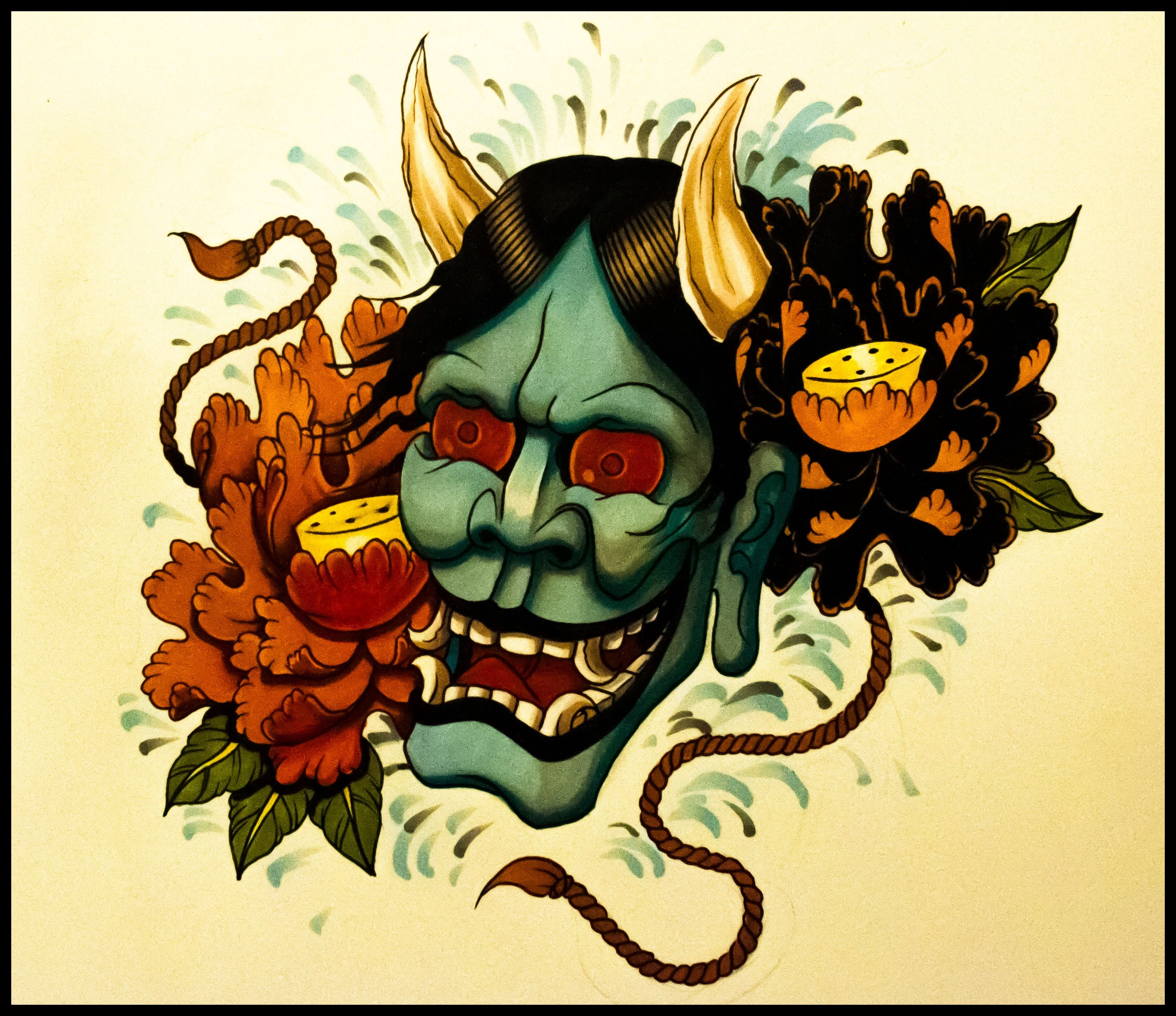 2952x2549 How To Draw A Hannya Mask Tattoo Style By Thebrokenpuppet