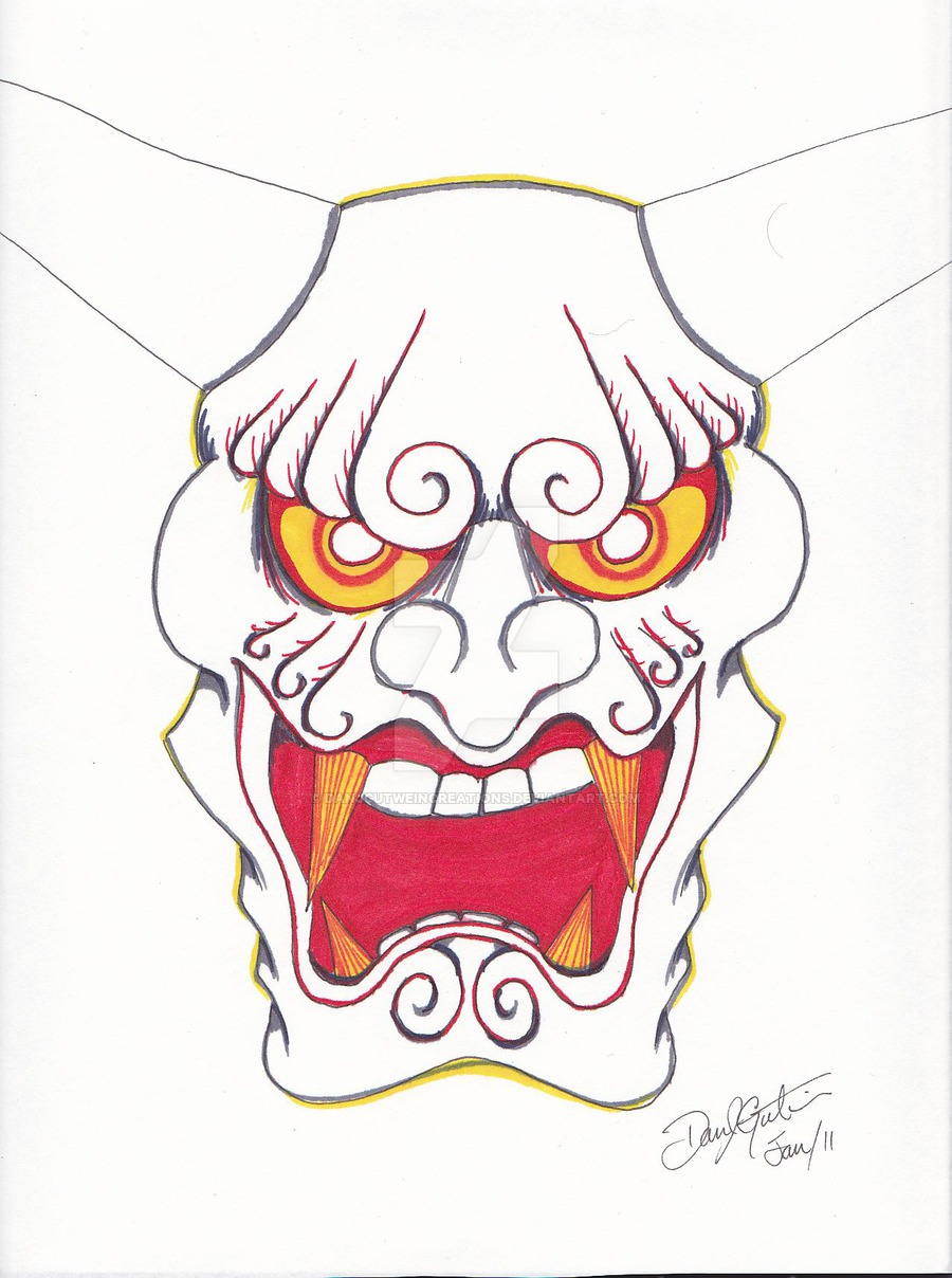 900x1208 Japanese Demon Mask, Coloured By Dan J. Gutwein By