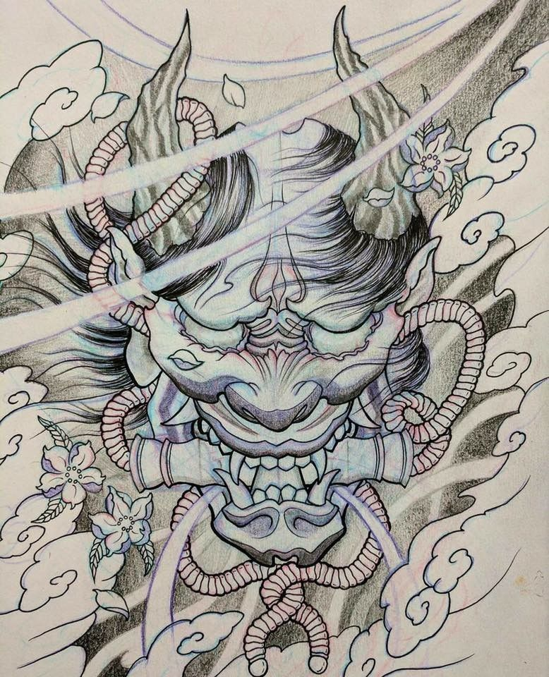 It's just an image of Dramatic Japanese Mask Drawing