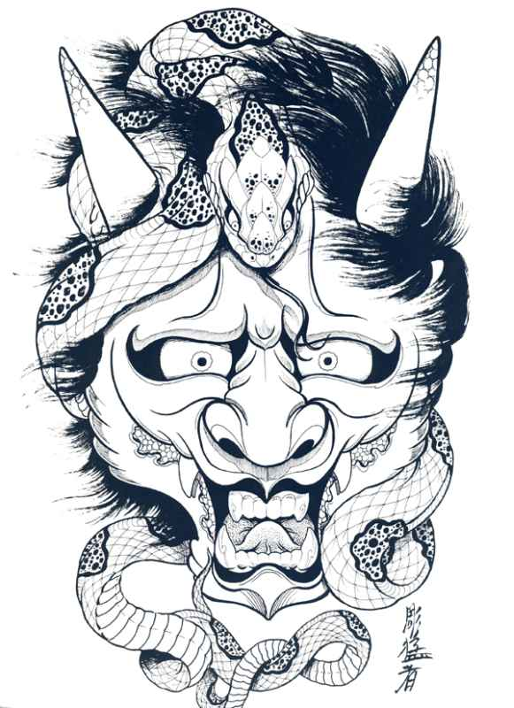 581x800 Japanese Hannya Mask Tattoo Designs By Horimouja Outline Stencil