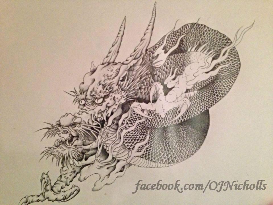 960x720 Japanese Dragon (Unfinished) Byichollsart