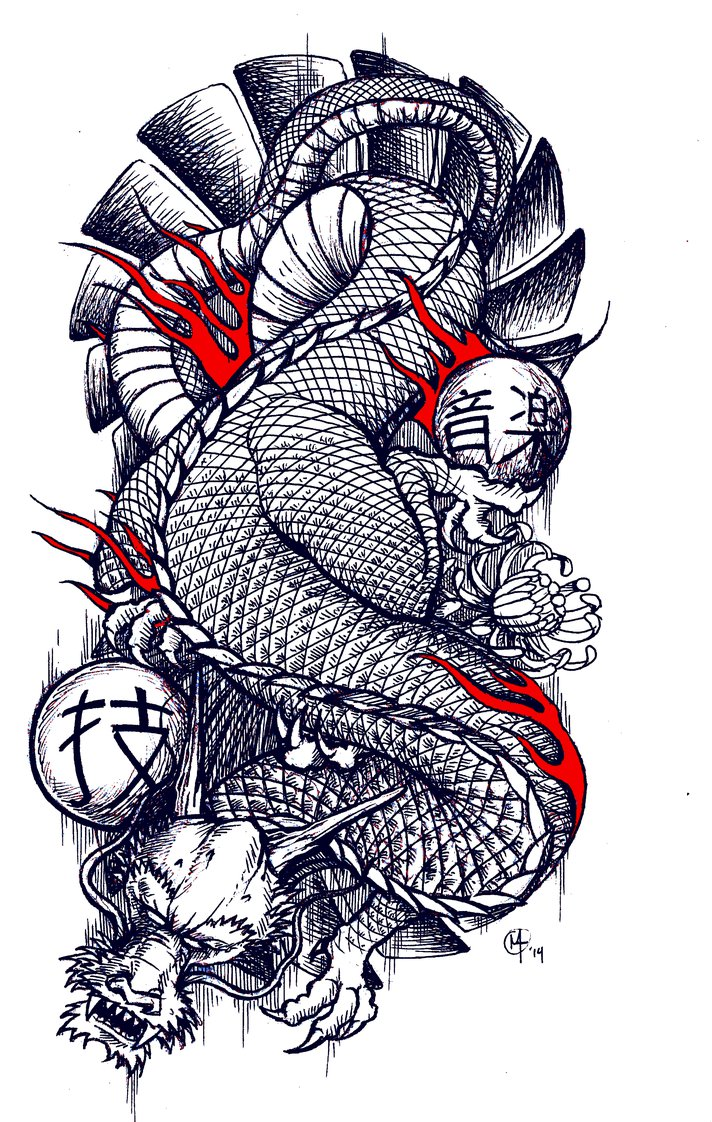 712x1122 Traditional Japanese Dragon Tattoo Design By Miketooch