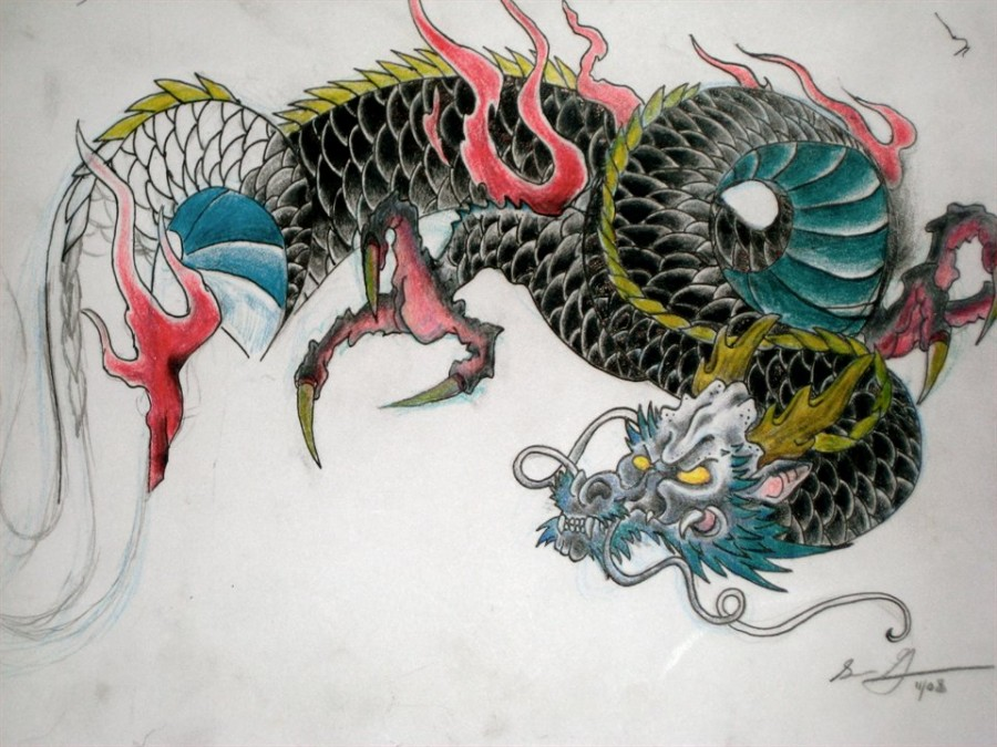 900x675 Colorful Japanese Dragon Tattoo Design