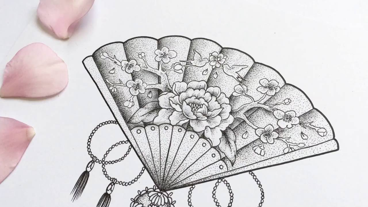 1280x720 Chinese Fan Dotwork Time Lapse Drawing