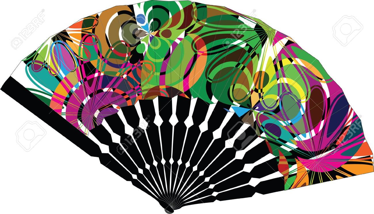 1300x744 Fan Illustration With Abstract Drawing Royalty Free Cliparts