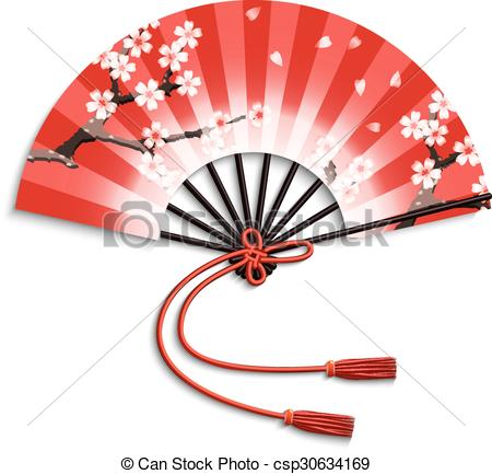 450x433 Realistic Japanese Folding Fan With Sakura Flowers Ornament
