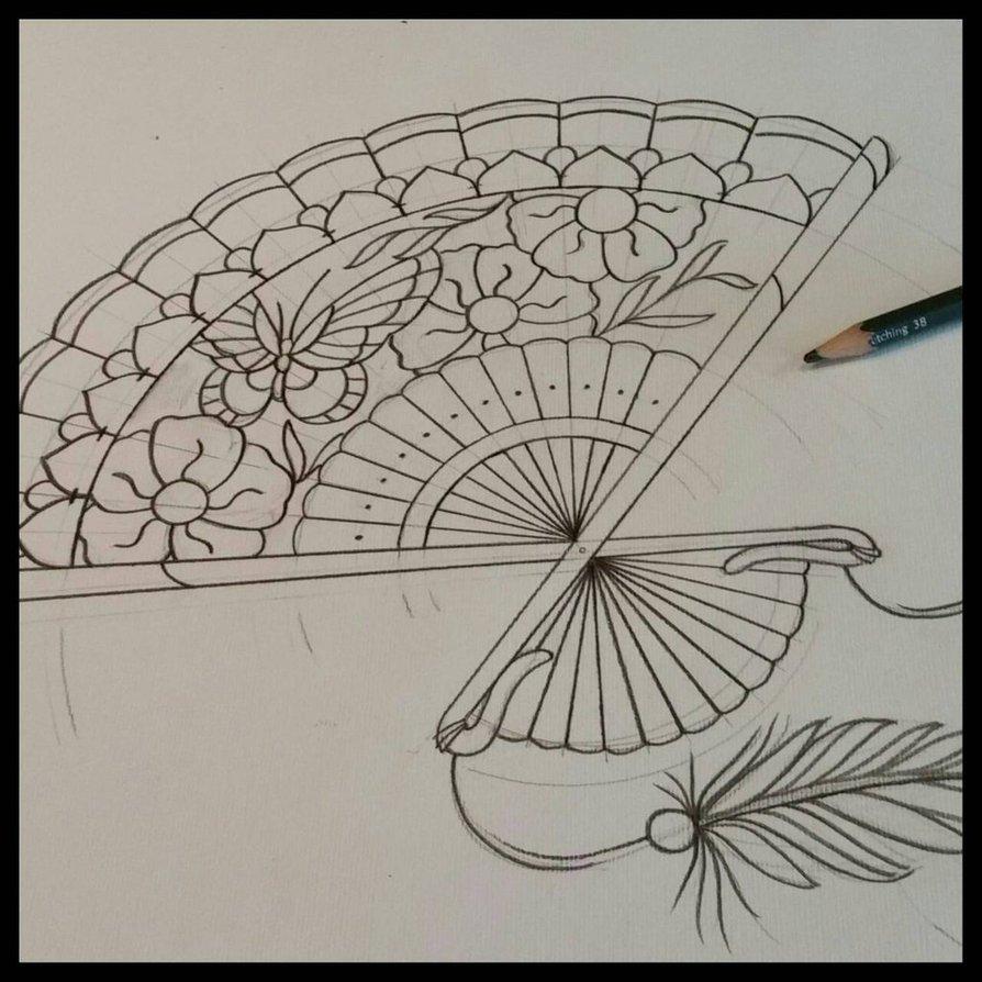 894x894 Japanese Fan Tattoo Design By Thirteen7s