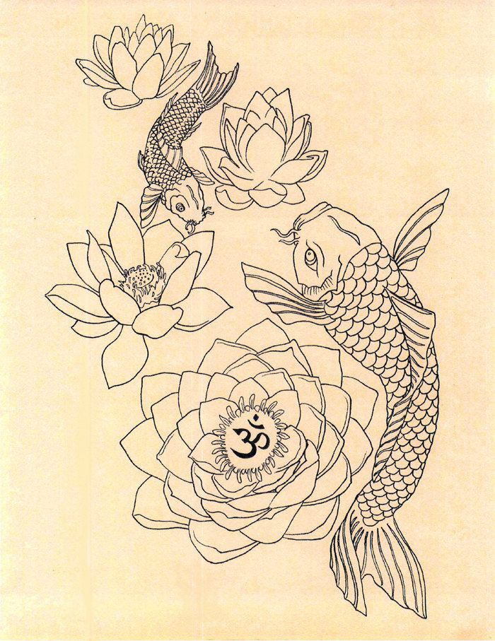 700x907 Japanese Fish Om Lotus Tattoo Drawing Art Print By Geniemelisande