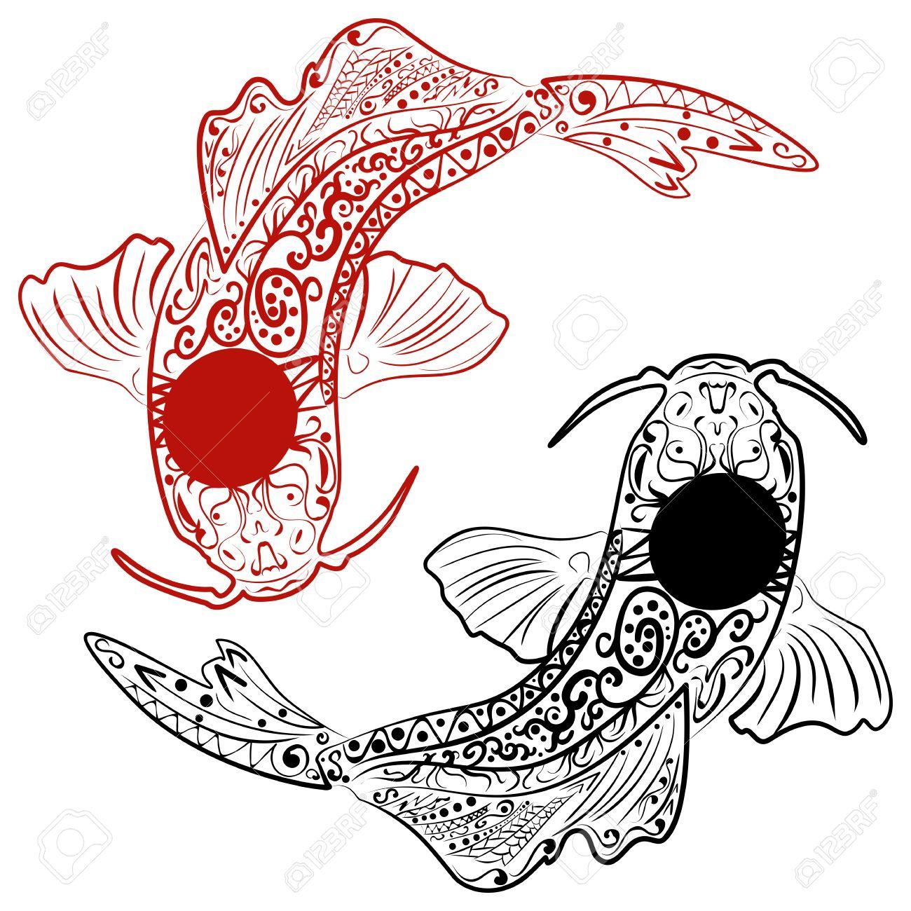 1300x1300 Zentangle Stylized Hand Drawn Koi Fish. Japanese Carp Line Drawing