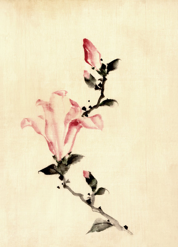 570x791 Japanese Art Pink Flower Drawing Hokusai Fine Art Print