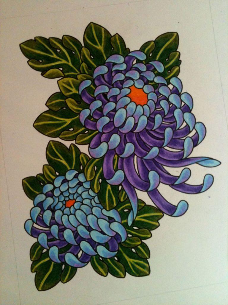 768x1024 Japanese Flower Drawing Styles Chrysanthemum Stencil Designs