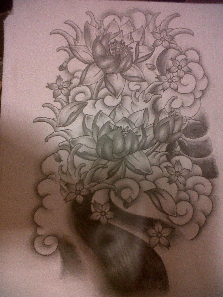 774x1032 Japanese Flowers Tattoo Design By Tattoosuzette