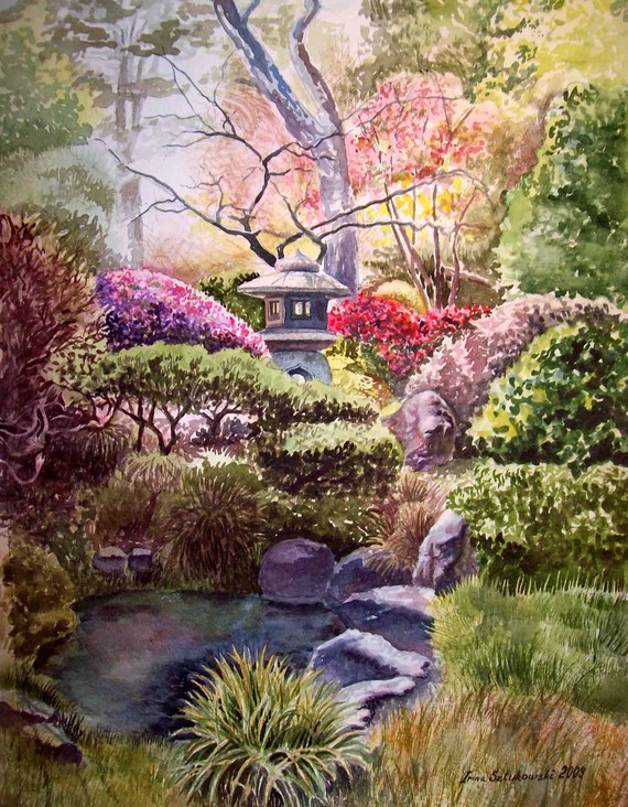 570x732 Painting Of Japanese Garden
