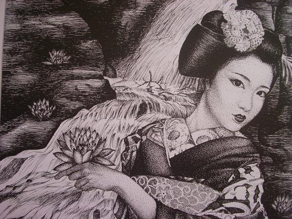 570x427 Beautiful Ink Pen Drawing Of A Japanese Maiko Geisha