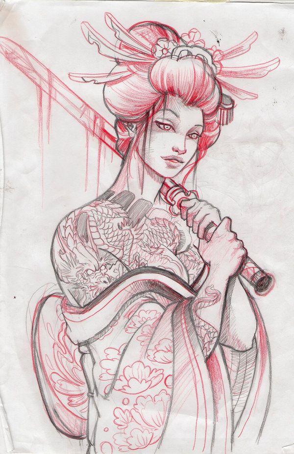 600x925 Bloody Geisha By Amarildo93 Color Pencil