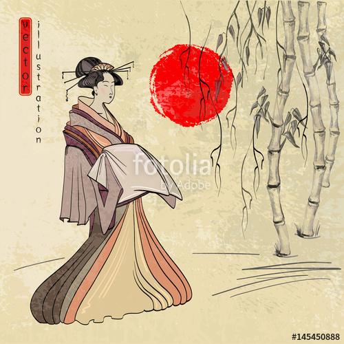 500x500 Geisha, Ancient Japan, Classical Japanese Woman Ancient Style