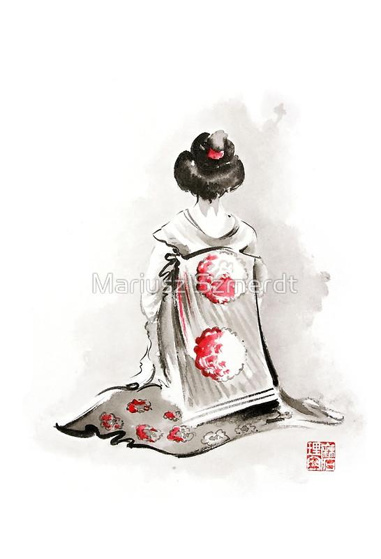 546x800 Geisha Girl Drawing Large Poster, Japanese Woman Watercolor Art