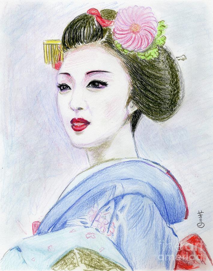 710x900 A Maiko Girl Drawing By Yoshiko Mishina