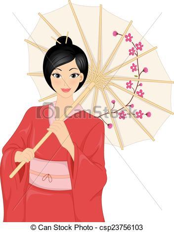 352x470 Japanese Kimono Girl. Illustration Featuring A Woman Wearing