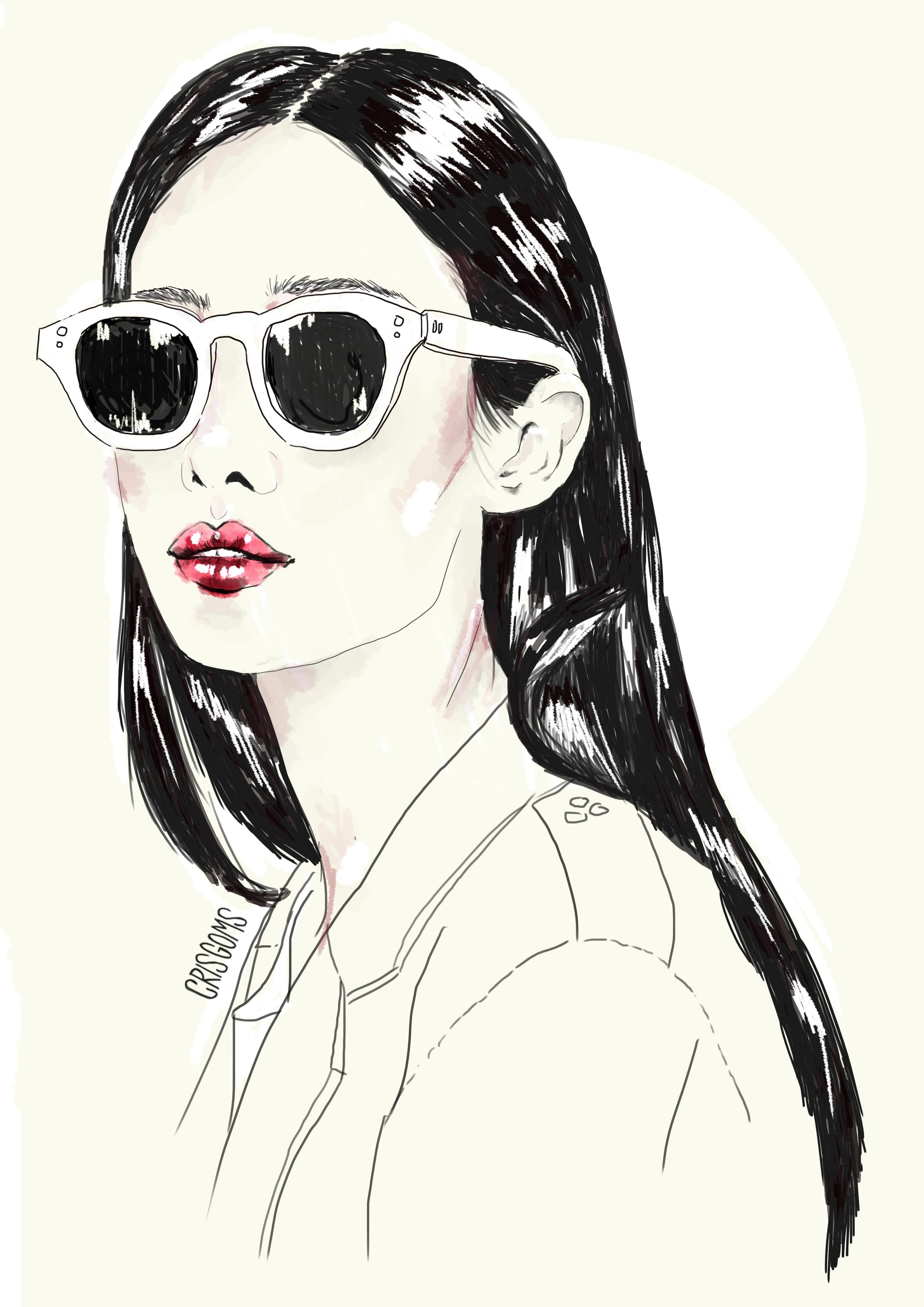 2923x4134 Japanese Girl, Sunglasses, Draw, Graphic, Digital Art, Red