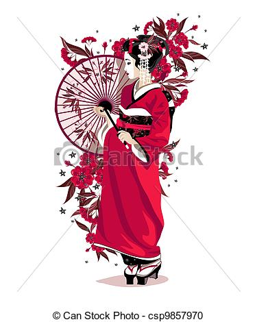 375x470 Traditional Japanese Girl Drawing