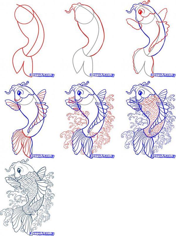 600x804 How To Draw Goldfish, Koi And Catfish