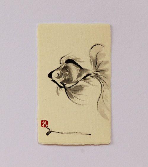 500x564 Ink Drawing, Goldfish Drawing, Fish, Japanese Art Fish, Mini Art