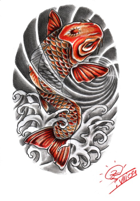 489x700 30 Koi Fish Tattoo Designs With Meanings