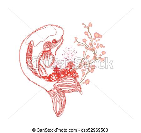 450x424 Japanese Koi And Ancient Building Background Vector Clipart