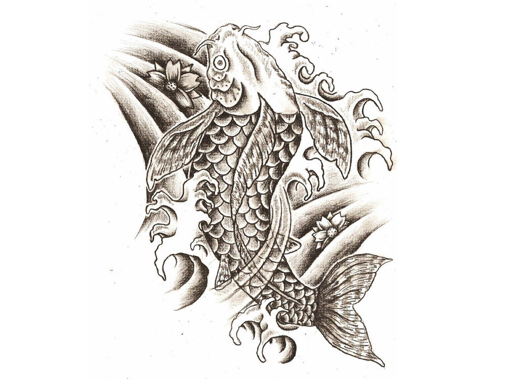 1024x768 Koi Fish Tattoo Designs Ideas Japanese Koi Fish Tattoo Drawing