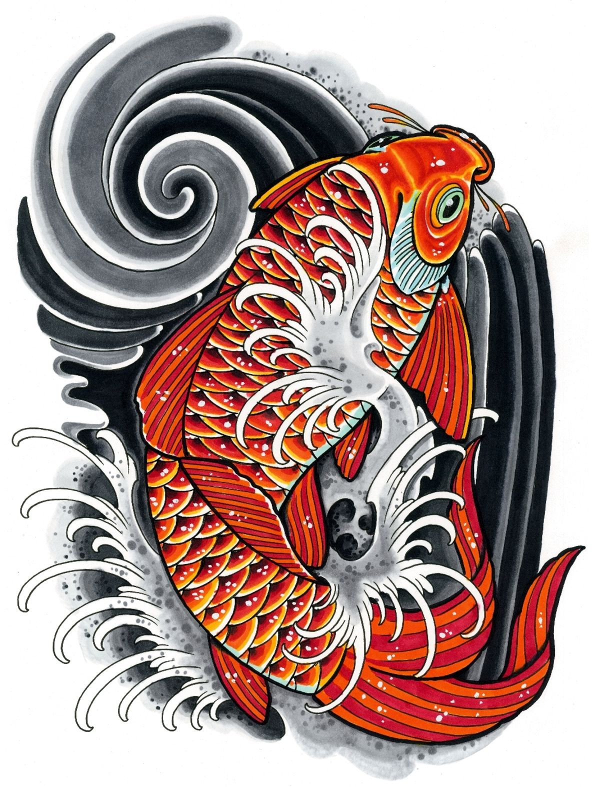 1200x1574 Koi Drawing Inspired By Japanese Tattoo Art. Done With Copic
