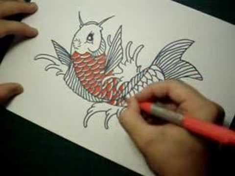 480x360 Speed Drawing Koi Fish