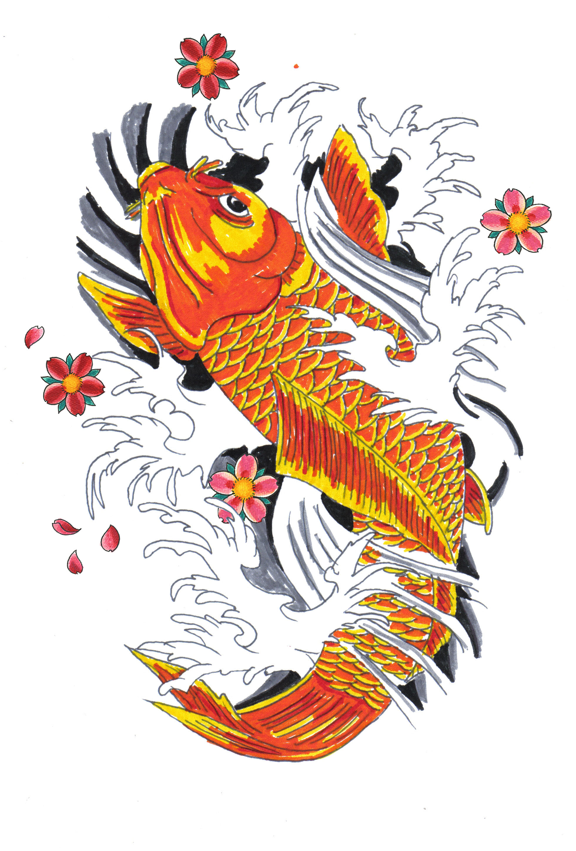 It is a graphic of Tactueux Japanese Koi Fish Drawing