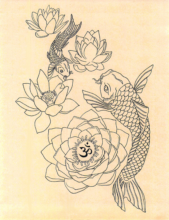 570x739 Koi Fish Om Lotus Dream
