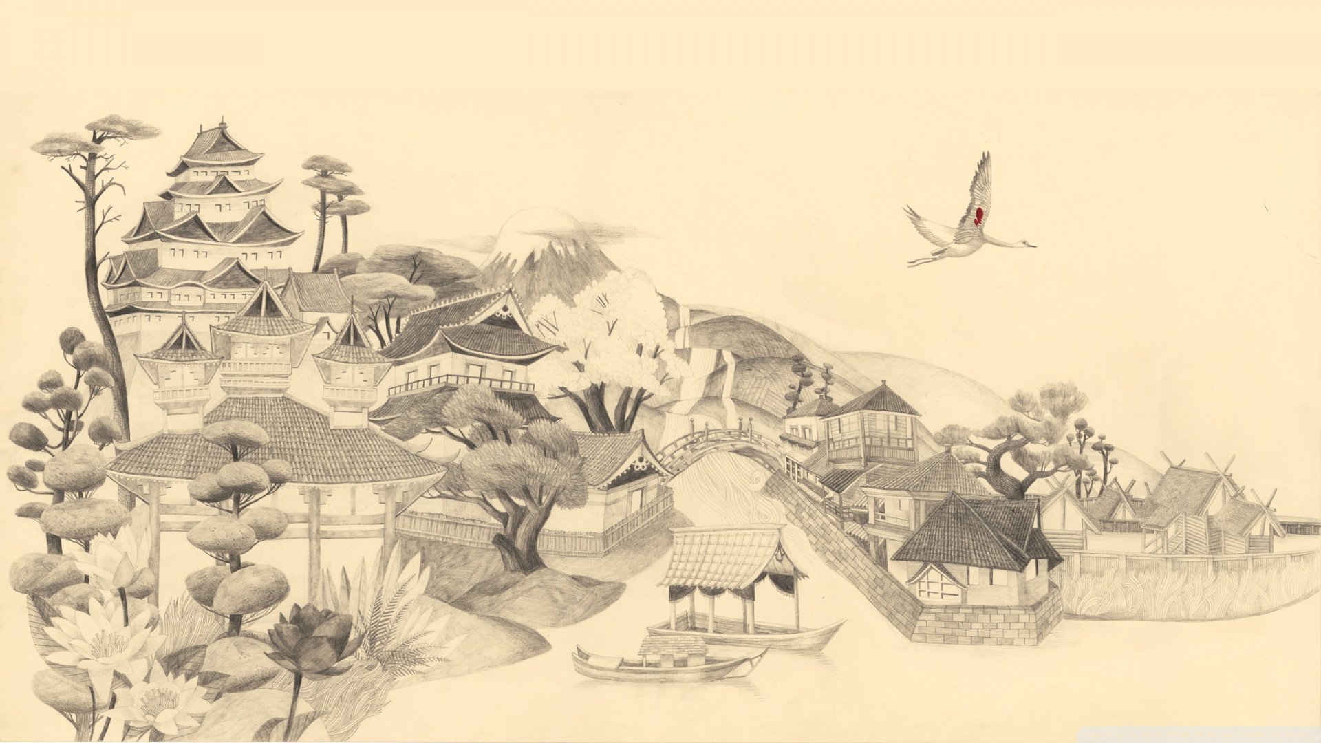 1920x1080 Japanese Landscape Drawing Japanese Drawing Hd Desktop Wallpaper