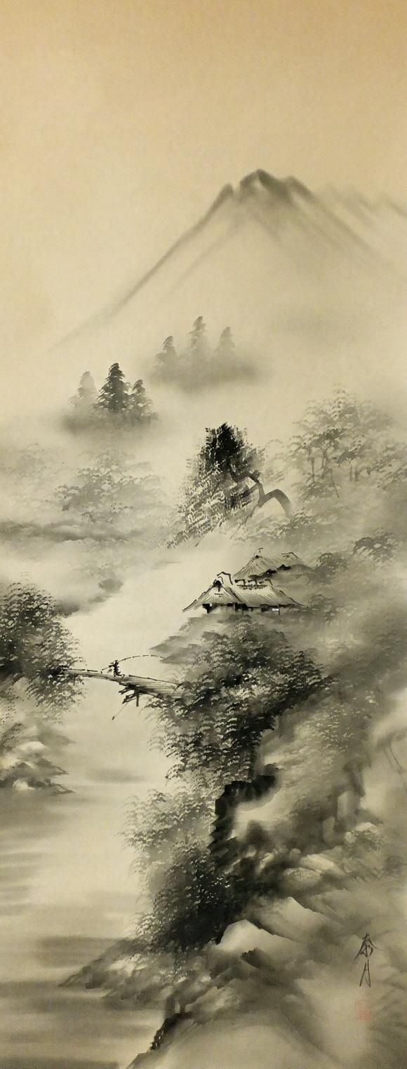 580x1524 Japanese Landscape Drawing Ss 10198 [ Suiboku Sansui Landscape